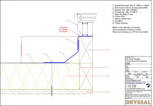 Dryseal Drawing Flat Glass Rooflight Conventional Kerb Mounting