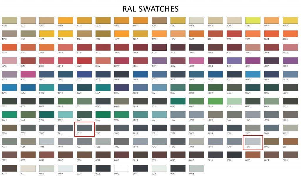 Dryseal colour chart